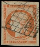 Lot n° 90 -  - 5    40c. orange, grandes marges, obl. GRILLE, TTB. Br