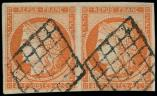 Lot n° 96 -  - 5    40c. orange, PAIRE obl. GRILLE, TB