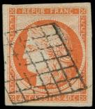 Lot n° 89 -  - 5    40c. orange, oblitéré GRILLE, TB/TTB. M