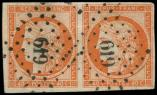 Lot n° 95 -  - 5    40c. orange, PAIRE obl. PC 619 de CARPENTRAS, TTB