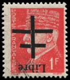 Lot n° 2064 - ** - AIGURANDE 4 : 1f. rouge, surcharge RENVERSEE, TB