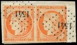 Lot n° 108 -  - 5    40c. orange, PAIRE, marge le long du filet à dr., obl. PC 1541 sur fragt, TB