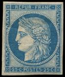 Lot n° 141 - * - R4d  25c. bleu, REIMPRESSION, TB