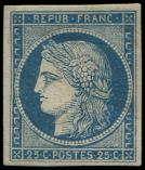 Lot n° 82 - * - 4    25c. bleu, restauré, aspect TB