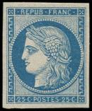 Lot n° 140 - ** - R4d  25c. bleu, REIMPRESSION, TB