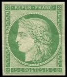 Lot n° 138 - ** - R2e  15c. vert vif clair, REIMPRESSION, TB