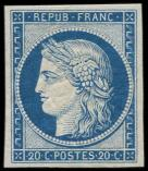 Lot n° 146 - ** - R8f  20c. bleu, REIMPRESSION, TB