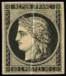 Lot n° 48 - * - 3    20c. noir, PLI ACCORDEON, spectaculaire et RR, TB. C