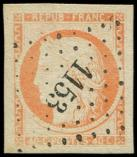 Lot n° 100 -  - 5    40c. orange, obl. PC 1153, marges énormes, Superbe. J
