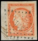 Lot n° 104 -  - 5    40c. orange, obl. PC 3166 s. fragt, frappe TTB
