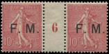 Lot n° 1941 - ** - 4    10c. rose, PAIRE Mill.6, TB