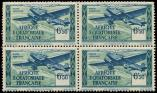 Lot n° 3577 - ** - A.E.F. PA 36 : 6f50 bleu et vert, BLOC de 4, valeur TRES DECALEE, TB