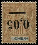 Lot n° 3963 - * - MADAGASCAR 59a : 0,05 s. 30c. brun, surcharge RENVERSEE, une dc, sinon TB