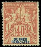 Lot n° 3871 - * - GUINEE 7a : 40c. rouge-orange, DOUBLE légende, défx, B/TB
