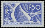 Lot n° 2834 - ** - 327   Expo Internationale 1937, 1f.50 outremer, impression DEPOUILLEE, TB