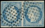 Lot n° 3537 -  - 12   20c. bleu, TETE-BECHE, obl. Losanges de 64 points, TB. C