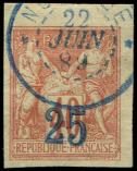 Lot n° 4156 -  - NOSSI-BE 1 : 25 sur 40c. rouge-orange, surcharge outremer, 2e tirage, obl., petit cdf, TTB. Br