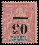 Lot n° 3962 - * - MADAGASCAR 48a : 50c. rose, surcharge RENVERSEE, TB
