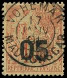 Lot n° 3951 -  - MADAGASCAR 4 : 05 sur 40c. rouge-orange, obl., TB