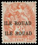 Lot n° 4345 - * - ROUAD 6a : 3c. orange, DOUBLE SURCHARGE, TB