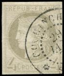 Lot n° 3542 -  - 16    4c. gris, obl. càd COCHINCHINE, TB