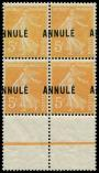 Lot n° 2057 - ** - 158-CI 1  Semeuse 5c. orange, BLOC de 4 surch. ANNULE A CHEVAL, bdf, TB