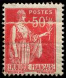 Lot n° 2833 - * - 283f  Paix, 50c. rose-rouge, impression SUR RACCORD, TB