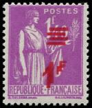 Lot n° 2845 - ** - 484a  Paix,  1f. s. 1f.40 lilas, DOUBLE surcharge, TTB