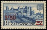 Lot n° 2848 - * - 490a  Carcassonne, 2f.50 s. 5f. bleu, DOUBLE surcharge, TB. Br