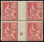 Lot n� 1615 - ** - 112   Mouchon, 10c. rose, BLOC de 4 Mill.0, TB