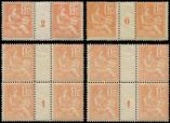 Lot n� 1626 - ** - 117   Mouchon, 15c. orange, 2 PAIRES Mill.0 et 2, BLOC de 4 Mill.1, TB