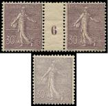 Lot n� 1672 - ** - 133a  Semeuse Lign�e, 30c. violet fonc�, PAIRE Mill.6, ch. s. interp., on joint N�133 ** l�g. adh. non compt�, TB