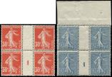 Lot n� 1707 - ** - 160/61 Semeuse, 30c. rouge et 50c. bleu, BLOCS de 4 Mill.1, TB