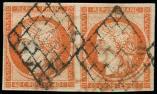 Lot n° 104 -  - 5    40c. orange, PAIRE obl. GRILLE, TB