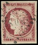 Lot n° 113 -  - 6     1f. carmin, obl. Los. DS2 romain, belles marges, TTB. C