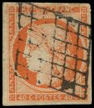 Lot n° 102 -  - 5    40c. orange, oblitéré GRILLE, TB