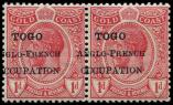 Lot n° 4502 - ** - TOGO 60 : 1d. rouge, surcharge A CHEVAL, PAIRE, TB