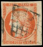 Lot n° 103 -  - 5    40c. orange, petit bdf, PLI ACCORDEON, obl. GRILLE, TB