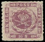 Lot n� 4750 - * - DANEMARK 7 : 16s. violet, PERCE en LIGNES, TB