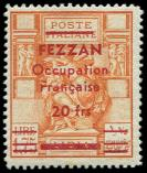 Lot n° 3923 - * - FEZZAN 9 : 20f. sur 1l75 orange, TB