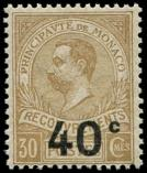 Lot n� 4327 - * - MONACO Taxe 12a : 40c. s. 30c. bistre, SANS POINT apr�s c, TB