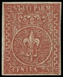 Lot n� 4802 -  - ITALIE (ANCIENS ETATS) PARME 8 : 25c. brun-rouge, oblit�ration l�g�re, TB/TTB