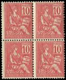 Lot n� 1564 - ** - 112   Mouchon, 10c. rose, BLOC de 4, centrage courant, TB