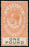 Lot n� 4768 - * - GIBRALTAR 89 : 1l. rouge-orange et noir, TB