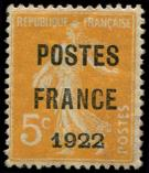 Lot n° 1792 - * - 36   5c. orange, POSTES FRANCE 1922, lég. ch., TB