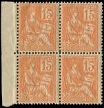 Lot n� 1572 - ** - 117   Mouchon, 15c. orange, BLOC de 4 bdf, TB