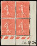 Lot n� 1623 - ** - 203   Semeuse Lign�e, 80c. rouge, BLOC de 4 CD 23/10/25, TB