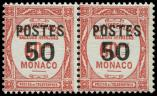 Lot n� 4304 - ** - MONACO 147a : 50 sur 60c. rouge, PETIT 0 tenant � normal, RR et TTB. C