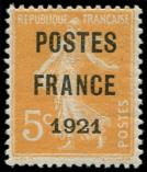 Lot n° 1789 - * - 33   5c. orange, POSTES FRANCE 1921, ch. légère, TB. C