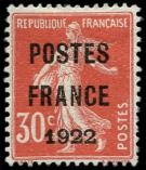 Lot n° 1793 - (*) - 38  30c. rouge, POSTES FRANCE 1922, bien centré, TB. C